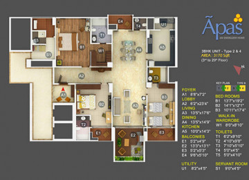 3 BHK AREA IN (SQ.FT.)3170