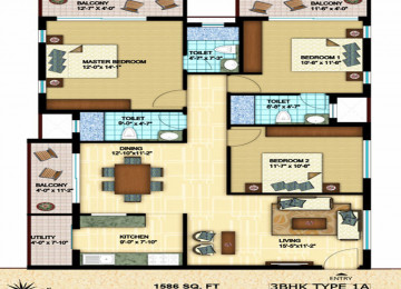 3bhk type 1a