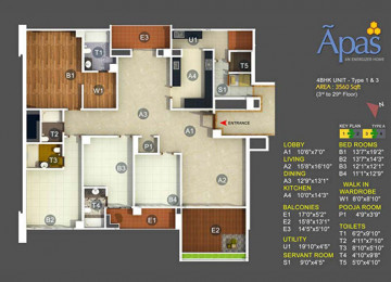 4 BHK area in (sq.ft.)3560