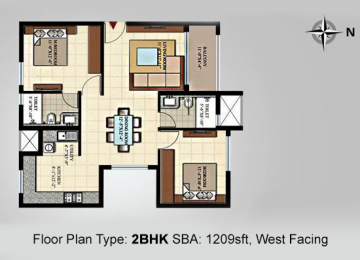 Floor-Plan Type 2BHK SBA 1209sft West-Facing