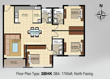 Floor Plan Type 3BHK SBA 1765sft North Facing
