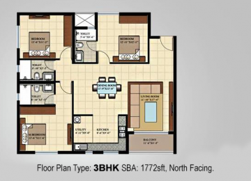 Floor Plan Type 3BHK SBA 1772sft North Facing