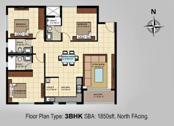 Floor Plan Type 3BHK SBA 1850sft North Facing