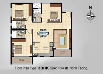 Floor Plan Type 3BHK SBA 1864sft North Facing