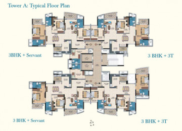 Tower A Typical Fllor Plan3BHK Servant 3BHK 3T