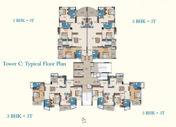 Tower C Typical Floor Plan 3BHK 3T 3BHK 3T