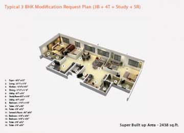Typical 3BHK Modification Request Plan 3B 4T Study SR