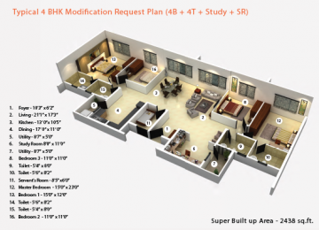 Typical 4BHK Modification Request Plan 4B 4T Study