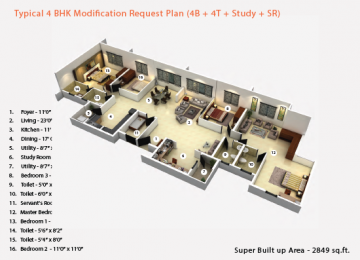 Typical 4BHK Modification Request Plan 4B 4T Study SR 2849sqft