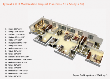 Typical 5BHK Modification Request Plan 5B 5T Study SR