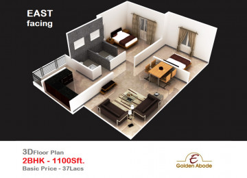 Floorplan east face 3floor 2bhk 1100 sft