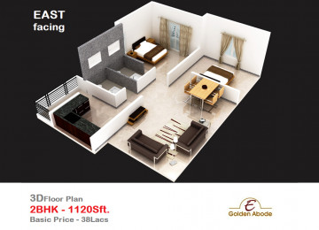 Floorplan east face 3floor 2bhk 1120 sft