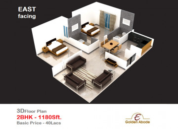 Floorplan east face 3floor 2bhk 1180 sft