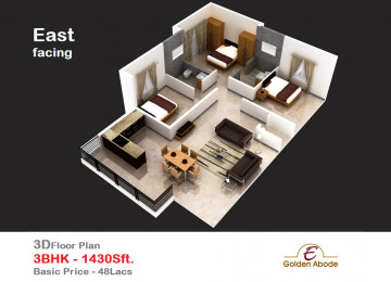 Floorplan east face 3floor 3bhk 1430 sft