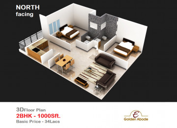 Floorplan east face 3floor 2bhk 1000 sft