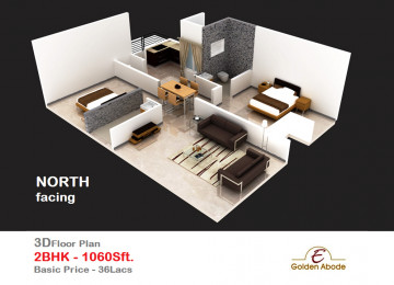 Floorplan east face 3floor 2bhk 1060 sft