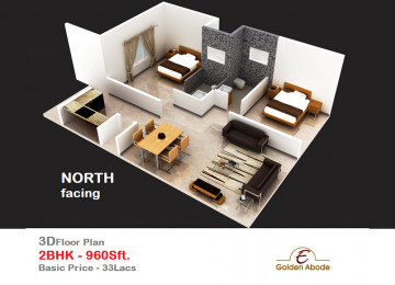 Floorplan east face 3floor 2bhk 960 sft