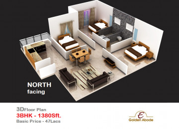 Floorplan east face 3floor 3bhk 1380 sft