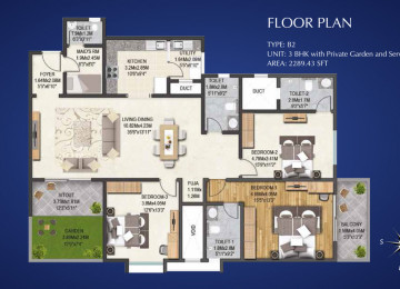 Type B2  3 BHK 2289 Sq.Feet