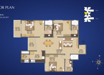 Type F1 3 BHK 2052 Sq.Feet