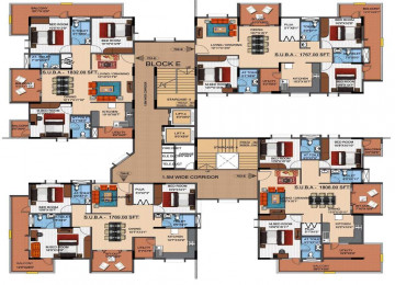 Mahaveer tranquil block e cluster plan from 7th to 11th floor